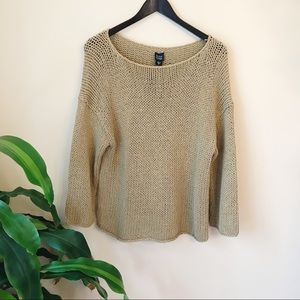 Eileen Fisher Tan Open Knit Chunky Sweater